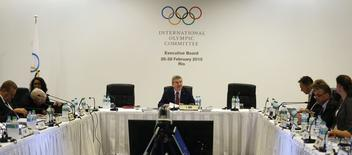International Olympic Committee (IOC) President Thomas Bach (C) speaks during the IOC Executive Board meeting in Rio de Janeiro February 28, 2015. REUTERS/Pilar Olivares