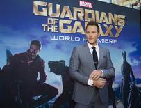 "Cast member Chris Pratt poses at the premiere of ""Guardians of the Galaxy"" in Hollywood, California July 21, 2014. REUTERS/Mario Anzuoni"