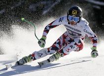 Anna Fenninger of Austria speeds down during the women's downhill first run of the Alpine Skiing World Cup in Garmisch-Partenkirchen March 7, 2015.      REUTERS/Wolfgang Rattay