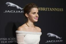 Actress Emma Watson poses at the BAFTA Los Angeles Britannia Awards at the Beverly Hilton hotel in Beverly Hills, California October 30, 2014. REUTERS/Mario Anzuoni