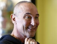 """Sam Simon, co-creator of """"The Simpsons"""" talks while visiting a chinchilla farm in Vista, California in this August 19, 2014 file photo. Simon died at age 59 on March 8, 2015, according to his agent.  REUTERS/Mike Blake/Files"""