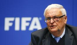 Theo Zwanziger, former president of the German Football Association (DFB) and member of the FIFA's executive committee addresses a news conference after a meeting of the FIFA executive committee in Zurich March 21, 2014. Reuters/Arnd Wiegmann