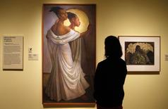 """An oil on canvas painting """"Ruth Rivera"""" by Mexican muralist Diego Rivera is viewed during a preview of the exhibit of Rivera and painter Frida Kahlo at the Detroit Institute of Arts (DIA) in Detroit, Michigan March 10, 2015. REUTERS/Rebecca Cook"""