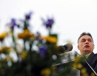 File photo of Hungarian Prime Minister Viktor Orban delvering a speech during the opening ceremony of the swimming pool in Cegled, 80km east of Budapest, March18, 2014. REUTERS/Laszlo Balogh
