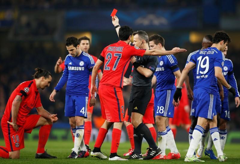 PSG striker Ibrahimovic sent off against Chelsea - Reuters