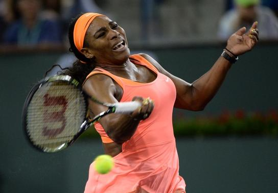 Mar 13, 2015; Indian Wells, CA, USA;  Serena Williams (USA) during her match against Monica Niculescu (ROU) at the BNP Paribas Open at the Indian Wells Tennis Garden. Williams won 7-5, 7-5. Mandatory Credit: Jayne Kamin-Oncea-USA TODAY Sports