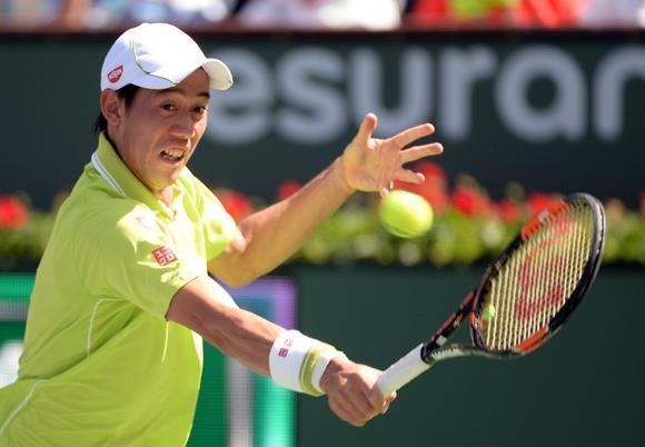 Kei Nishikori (JPN) during his 2nd round match against Ryan Harrison (USA) in the BNP Paribas Open at the Indian Wells Tennis Garden. Nishikori won 6-4, 6-4.Mandatory Credit: Jayne Kamin-Oncea-USA TODAY Sports