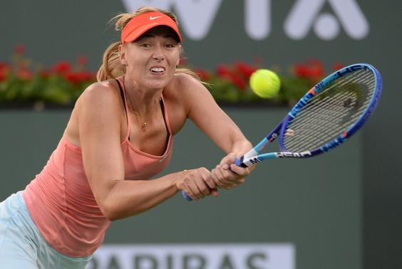 Mar 14, 2015; Indian Wells, CA, USA; Maria Sharapova (RUS) during her second round match against Yanina Wickmayer (BEL) in the BNP Paribas Open at the Indian Wells Tennis Garden. Sharapova won 6-1, 7-5.  Mandatory Credit: Jayne Kamin-Oncea-USA TODAY Sports