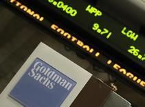 Логотип Goldman Sachs на Нью-Йоркской фондовой бирже 21 апреля 2010 года. Goldman Sachs объявил об IPO своего подразделения Goldman Sachs BDC Inc: на NYSE будет размещено 6 миллионов акций компании. REUTERS/Brendan McDermid