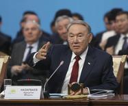 Kazakh President Nursultan Nazarbayev addresses the ruling party congress in Astana, March 11, 2015.  REUTERS/Mukhtor Kholdorbekov