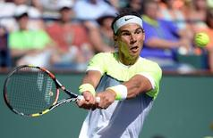 Rafael Nadal (ESP) during his quarter final match against Milos Raonic (CAN) in the BNP Paribas Oopen at the Indian Wells Tennis Garden. Raonic won 4-6, 7-6, 7-5. Mandatory Credit: Jayne Kamin-Oncea-USA TODAY Sports
