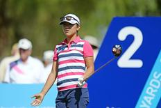 Lydia Ko reacts to her tee shot on the second hole during the first round of the ANA Inspiration at Mission Hills CC - Dinah Shore Tournament Course. Mandatory Credit: Jake Roth-USA TODAY Sports