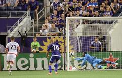 Apr 3, 2015; Orlando, FL, USA; The game winning goal gets by Orlando City SC goalkeeper Donovan Ricketts (1)  in the second half  against D.C. United  at Orlando Citrus Bowl Stadium. D.C. United  defeated Orlando City SC 1-0. Mandatory Credit: Jonathan Dyer-USA TODAY Sports