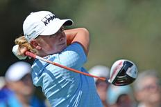Apr 5, 2015; Rancho Mirage, CA, USA; Stacy Lewis tees off on the second hole during the final round of the ANA Inspiration at Mission Hills CC - Dinah Shore Tournament Course. Jake Roth-USA TODAY Sports