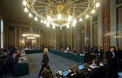 A general view shows the hearing room before the start of a parliamentary investigation into who bears political responsibility for the defunct Austrian bank Hypo Alpe Adria in Vienna April 8, 2015. REUTERS/Heinz-Peter Bader