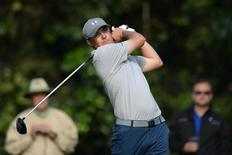 Jordan Speith tees off on the 12th during the second round of the Northern Trust Open at Riviera Country Club. Mandatory Credit: Jake Roth-USA TODAY Sports