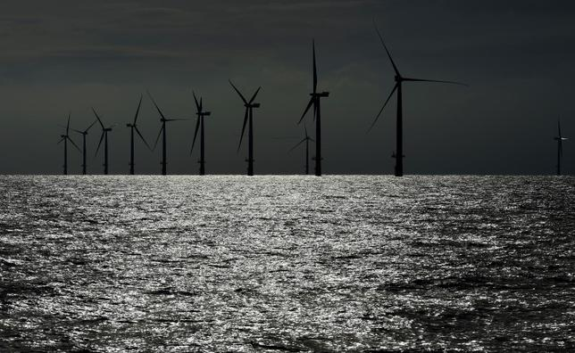 A view shows windmills of several wind farms at the so-called ''HelWin-Cluster'', located 35 kilometers (22 miles) north of the German island of Heligoland, November 5, 2014. REUTERS/Fabian Bimmer