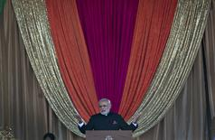 India's Prime Minister Narendra Modi addresses supporters while visiting the Laxmi Narayan Temple in Surrey, British Columbia April 16, 2015. Modi is on a three-day visit to Canada. REUTERS/Andy Clark