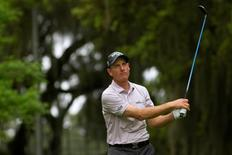 Jim Furyk tees off on the 16th hole during the final round of play at the RBC Heritage at Harbour Town Golf Links. Mandatory Credit: Joshua S. Kelly-USA TODAY Sports