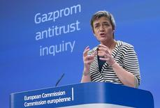European Competition Commissioner Margrethe Vestager addresses a news conference at the EU Commission headquarters in Brussels April 22, 2015.   REUTERS/Yves Herman