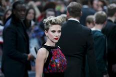 "Cast member Scarlett Johansson poses at the european premiere of ""Avengers: Age of Ultron"" at Westfield shopping centre, Shepherds Bush, London April 21, 2015. REUTERS/Stefan Wermuth"
