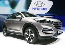 Hyundai Motor pourrait augmenter sensiblement la production de SUV aux Etats-Unis et en Chine après avoir fait état d'une nouvelle baisse de ses profits, conséquence des coûts des campagnes commerciales et d'une évolution défavorable des taux de change. /Photo prise le 4 mars 2015/REUTERS/Arnd Wiegmann