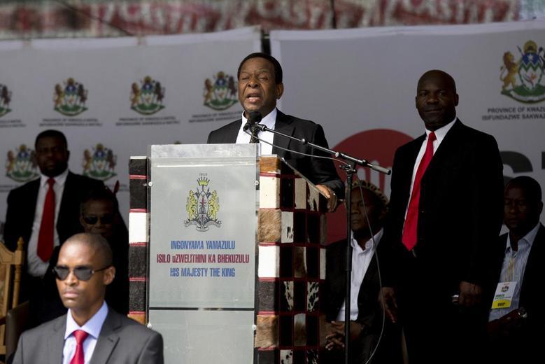 Zulu King Goodwill Zwelithini addresses a meeting in Durban, April 20, 2015.  REUTERS/Rogan Ward