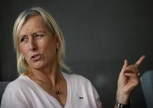 Tennis legend Martina Navratilova speaks as she meets the media in Singapore August 15, 2014. REUTERS/Edgar Su