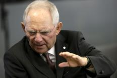 Minister of Finance of Germany Wolfgang Schaeuble attends Eurogroup tour-de-table during informal meeting of Ministers for Economic and Financial Affairs (ECOFIN) in Riga, Latvia, April 24, 2015. REUTERS/Ints Kalnins
