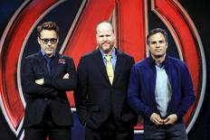 "Director Joss Whedon poses with cast members Robert Downey Jr. (L) and Mark Ruffalo (R) at a news conference for ""Avengers: Age of Ultron"" in Beijing, April 19, 2015. REUTERS/Stringer"