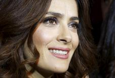 Actress and producer Salma Hayek attends an interview with Reuters during a charity gala dinner in Beirut April 27, 2015. REUTERS/Mohamed Azakir