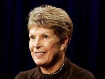 Author Ruth Rendell is interviewed by a reporter in New York City September 28, 2005. RENDELL REUTERS/Seth Wenig