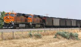 A Burlington Northern Santa Fe (BNSF) coal train arrives in Ft. Laramie, Wyoming July 15, 2014. REUTERS/Rick Wilking