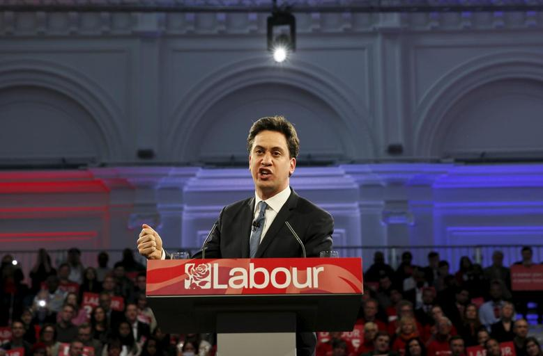 Britain's opposition Labour Party leader Ed Miliband delivers an election speech to supporters at the Royal Horticultural Halls in London, Britain May 2, 2015. REUTERS/Stefan Wermuth
