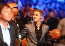 May 2, 2015; Las Vegas, NV, USA; Justin Bieber in attendance during the world welterweight championship bout between Floyd Mayweather and Manny Pacquiao at MGM Grand Garden Arena. Mandatory Credit: Mark J. Rebilas-USA TODAY Sports