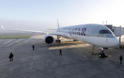 An Airbus A350 XWB is pictured on the tarmac during the first delivery of this new passenger jet at Qatar Airways in Toulouse, southwestern France, December 22, 2014. REUTERS/Regis Duvignau