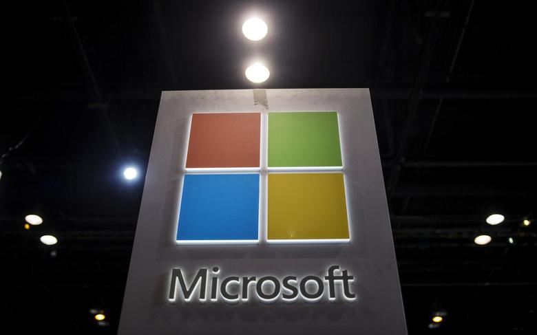 The Microsoft logo is seen as part of a display at the Microsoft Ignite technology conference in Chicago, Illinois, May 4, 2015. REUTERS/Jim Young