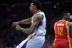 Los Angeles Clippers center DeAndre Jordan (6) reacts after a dunk against Houston Rockets center Dwight Howard (12) in game three of the second round of the NBA Playoffs at Staples Center.  USA TODAY Sports