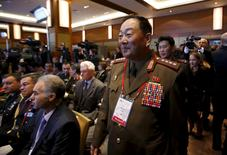 Senior North Korean military officer Hyon Yong Chol (R, front) attends the 4th Moscow Conference on International Security (MCIS) in Moscow in this April 16, 2015 file photo.  REUTERS/Sergei Karpukhin/Files