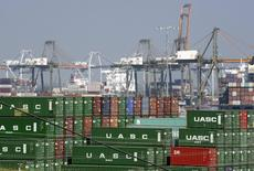 Cargo containers sit at the Port of Los Angeles in Los Angeles, California, in this file photo taken February 18, 2015. REUTERS/Bob Riha, Jr./Files