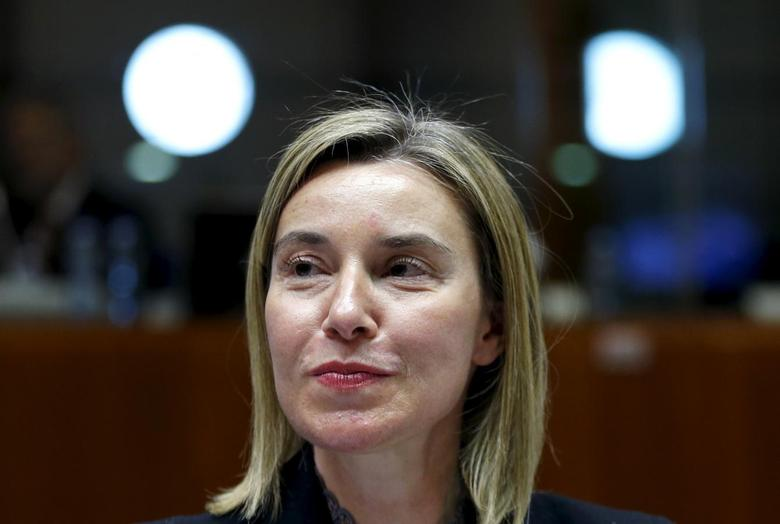 European Union foreign policy chief Federica Mogherini attends a meeting of European Union foreign and defence ministers at the EU Council in Brussels, Belgium, May 18, 2015. REUTERS/Francois Lenoir