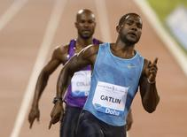 Justin Gatlin from the U.S. competes in the men's 100 meters event during the Diamond League meeting in Doha, Qatar May 15, 2015.  REUTERS/AK Bijuraj
