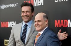 """Cast member Jon Hamm (L) and show creator Matthew Weiner attend the """"Mad Men: Live Read & Series Finale"""" held in Los Angeles May 17, 2015. REUTERS/Phil McCarten"""