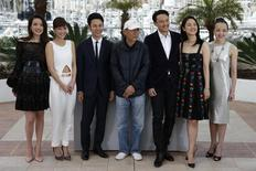 "(L-R) Cast members Shu Qi, Nikki Hsin-Ying Hsieh, Satoshi Tsumabuki, director Hou Hsiao-Hsien, cast members Chang Chen, Yun Zhou and Fang-Yi Sheu pose during a photocall for the film ""The Assassin"" (Nie yin niang) in competition at the 68th Cannes Film Festival in Cannes, southern France, May 21, 2015.  REUTERS/Benoit Tessier"