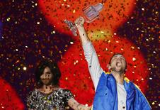 Singer Mans Zelmerloew representing Sweden celebrates winning the final of the 60th annual Eurovision Song Contest in Vienna, Austria May 23, 2015. REUTERS/Leonhard Foeger