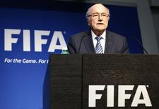 FIFA President Sepp Blatter addresses a news conference at the FIFA headquarters in Zurich, Switzerland, June 2, 2015.    REUTERS/Ruben Sprich