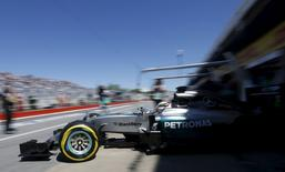 Mercedes Formula One driver Lewis Hamilton of Britain leaves the garage during the third practice session of the Canadian F1 Grand Prix at the Circuit Gilles Villeneuve in Montreal June 6, 2015. REUTERS/Chris Wattie