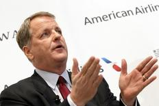 U.S. Airways CEO Doug Parker announces the planned merger of AMR Corp, the parent of American Airlines, with U.S. Airways during a news conference at Dallas-Ft Worth International Airport in this file photo taken on February 14, 2013. REUTERS/Mike Stone
