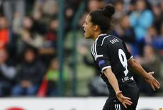 FFC Frankfurt's Celia Sasic celebrates after scoring a goal against Paris St Germain during their UEFA Women's Champions League final soccer match in Berlin, Germany, May 14, 2015.  REUTERS/Axel Schmidt