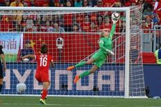 Jun 15, 2015; Winnipeg, Manitoba, CAN; New Zealand goalkeeper Erin Nayler (1) leaps to block a shot against China PR in the second half of a Group A soccer match in the 2015 FIFA women's World Cup at Winnipeg Stadium. Bruce Fedyck-USA TODAY Sports